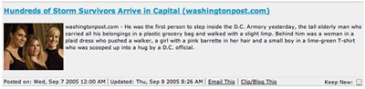 Screenshot of Katrina Headline from Bloglines